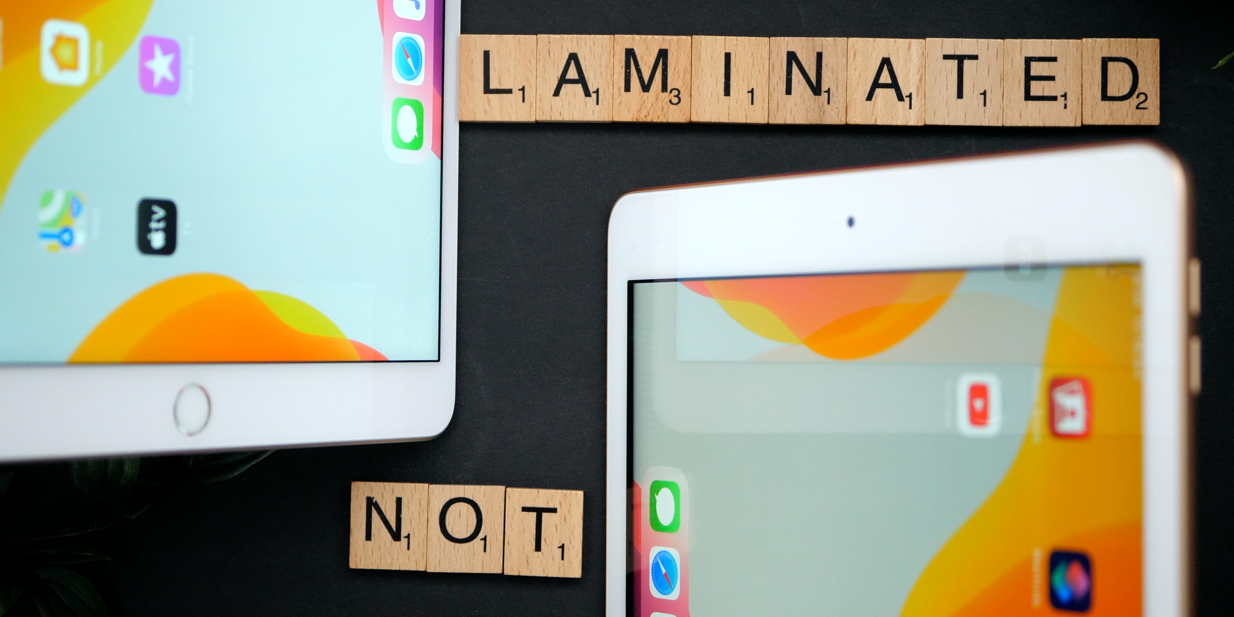 """The difference between the laminated display of the Air and the non-laminated display of the 10.2"""""""