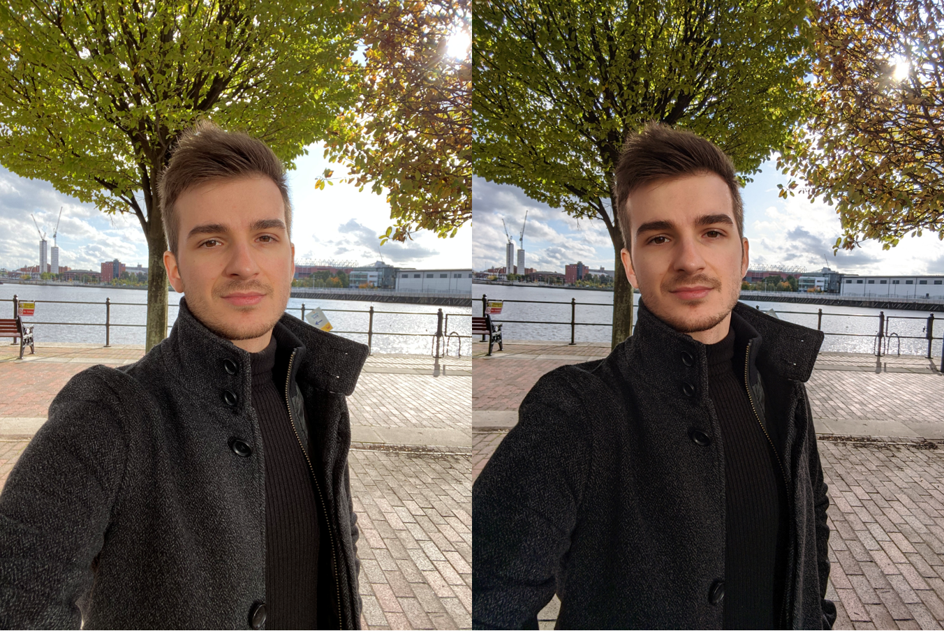 A sample of the wide front facing camera, the iPhone 11 Pro Max on the Left and the Pixel 4XL on the right