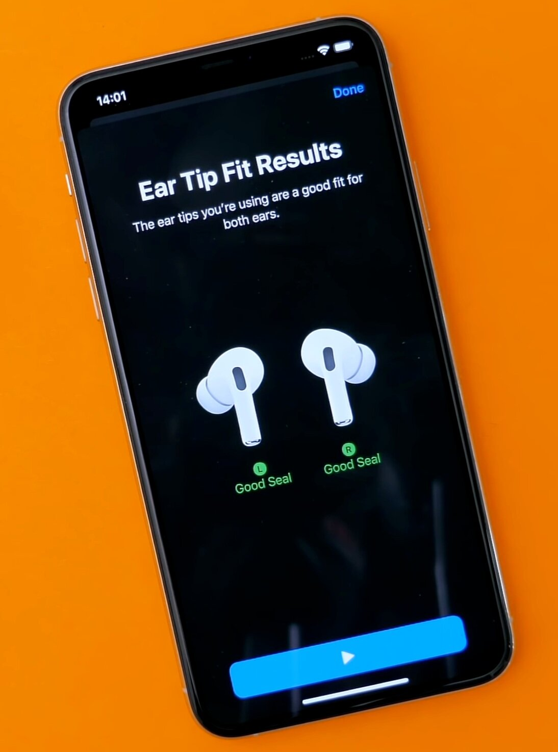 By taking the Ear Tip test you can see if you have the right rubber seal in