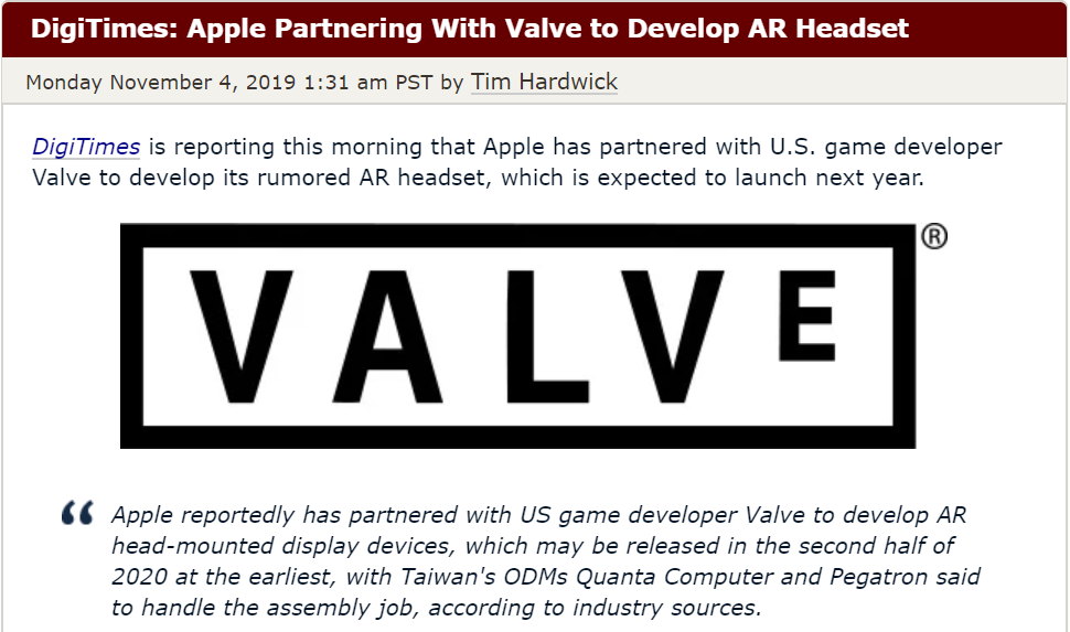 The article published on Monday explains that Apple has partnered with Valve (Source: MacRumors)