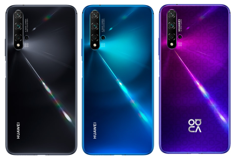 The colours of the nova 5T (Black, Crush Blue, and Midsummer Purple)