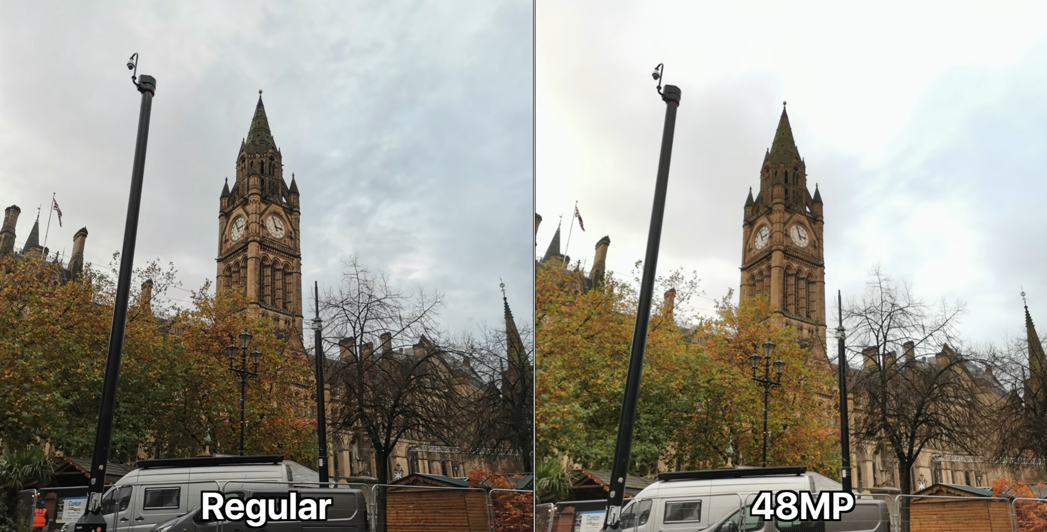 A comparison shot between the 12MP Camera and the 48MP secret option
