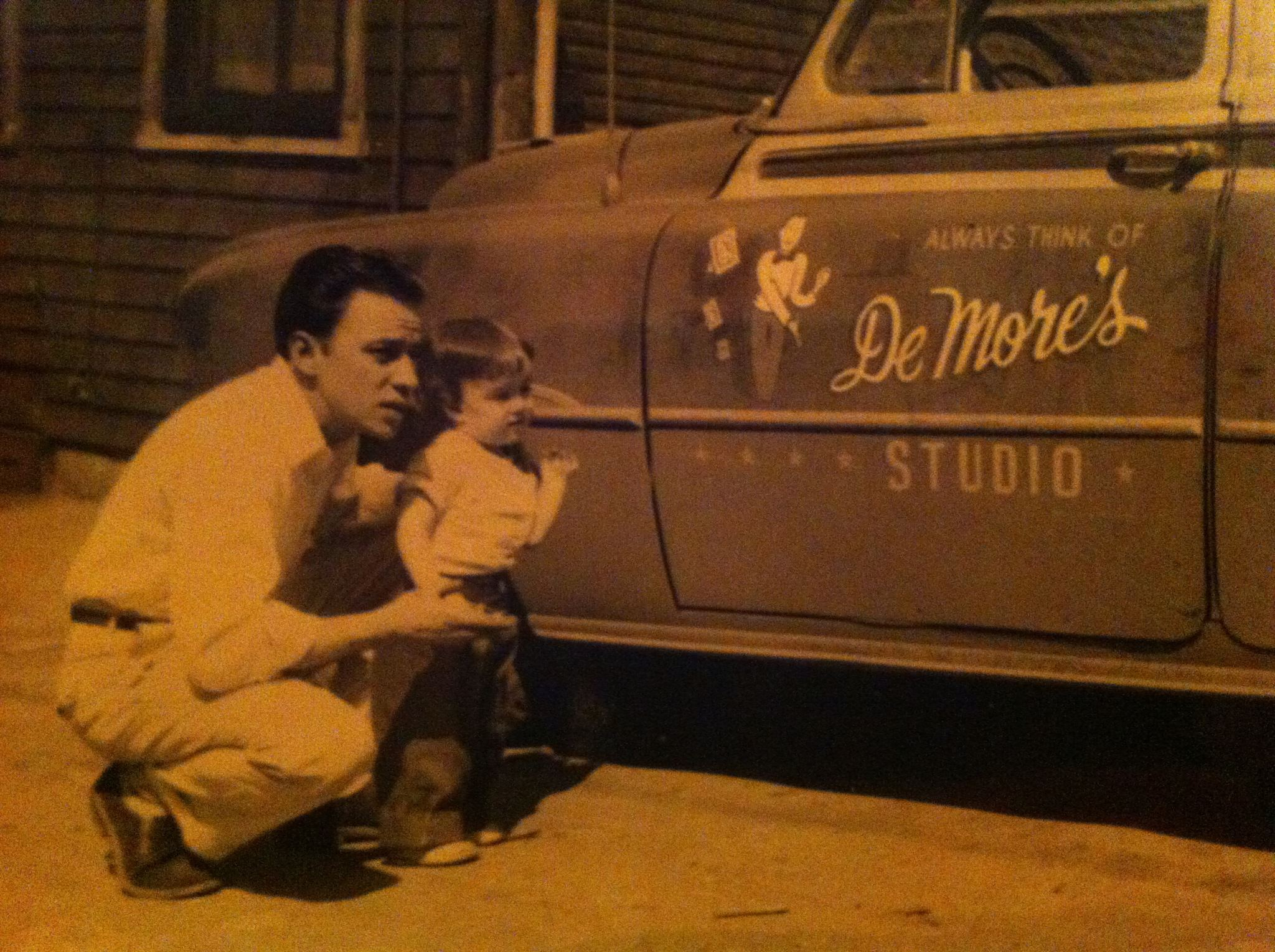 Old-school auto wraps - Pap DeMore and the family/business car..