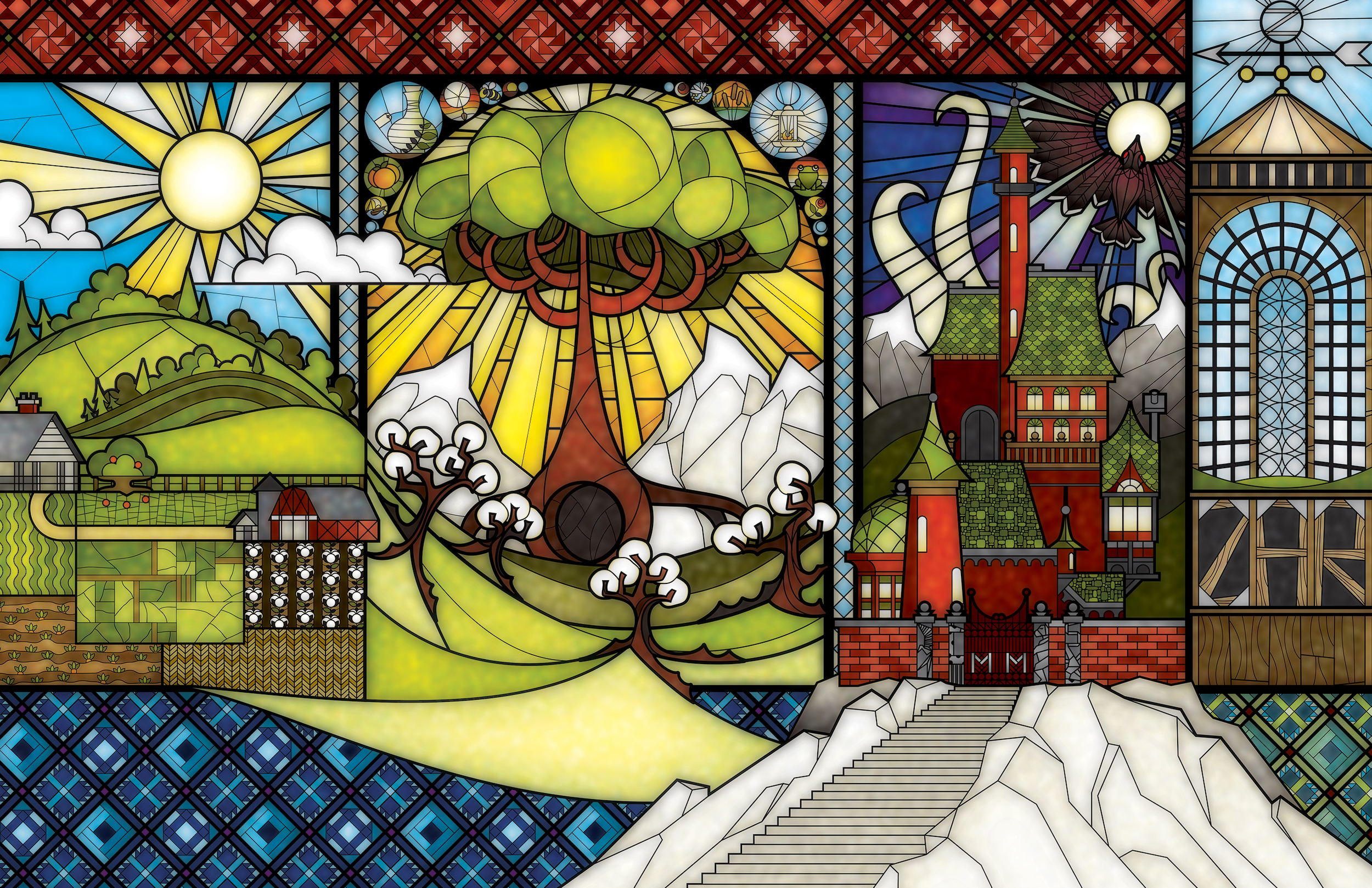 The Far Dark End Stained Glass Illustration