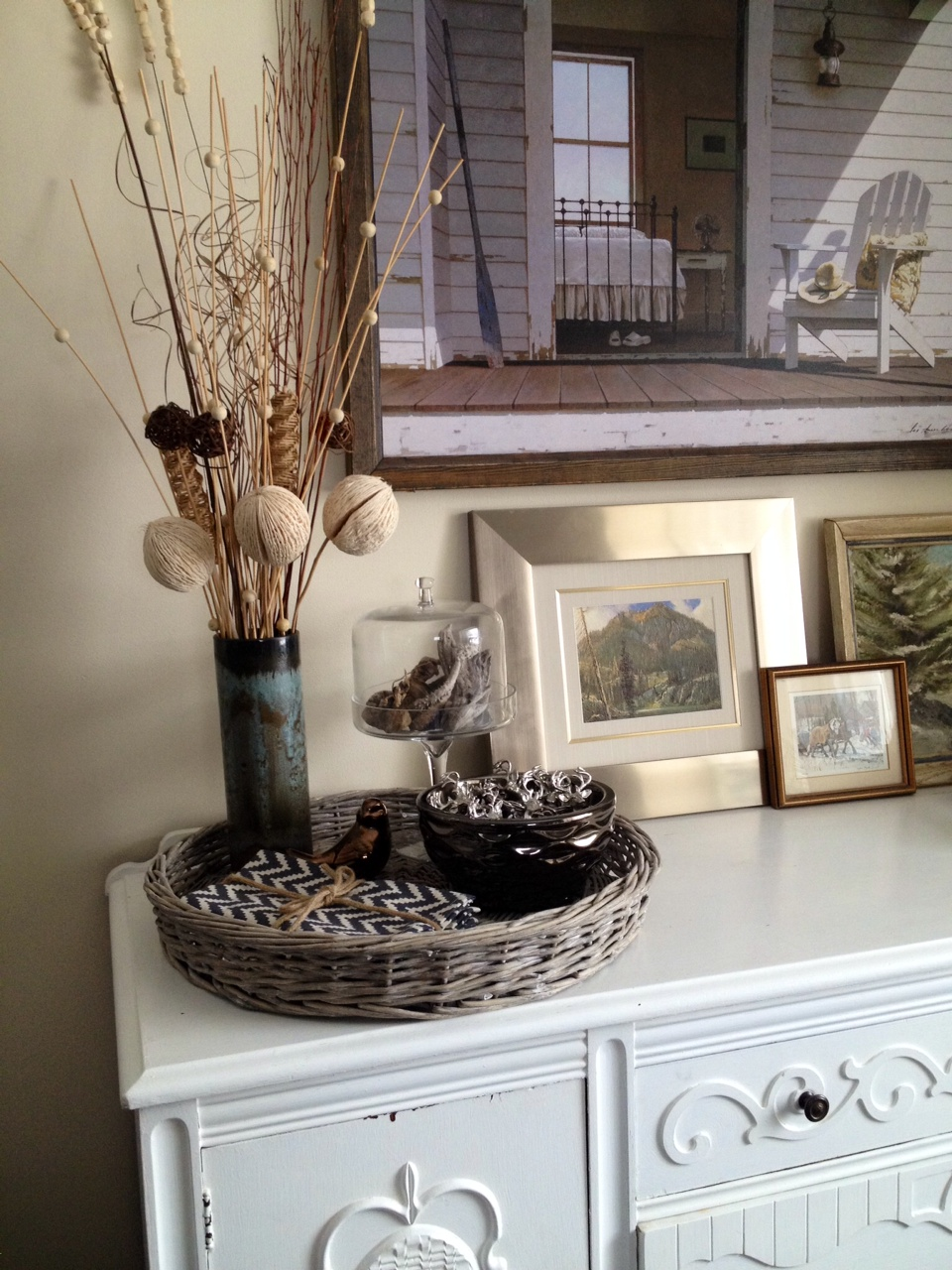 Wicker Tray, Vase with Rustic Elements, Napkins, Glass Cloche, Metallic Bowl, Copper Bird