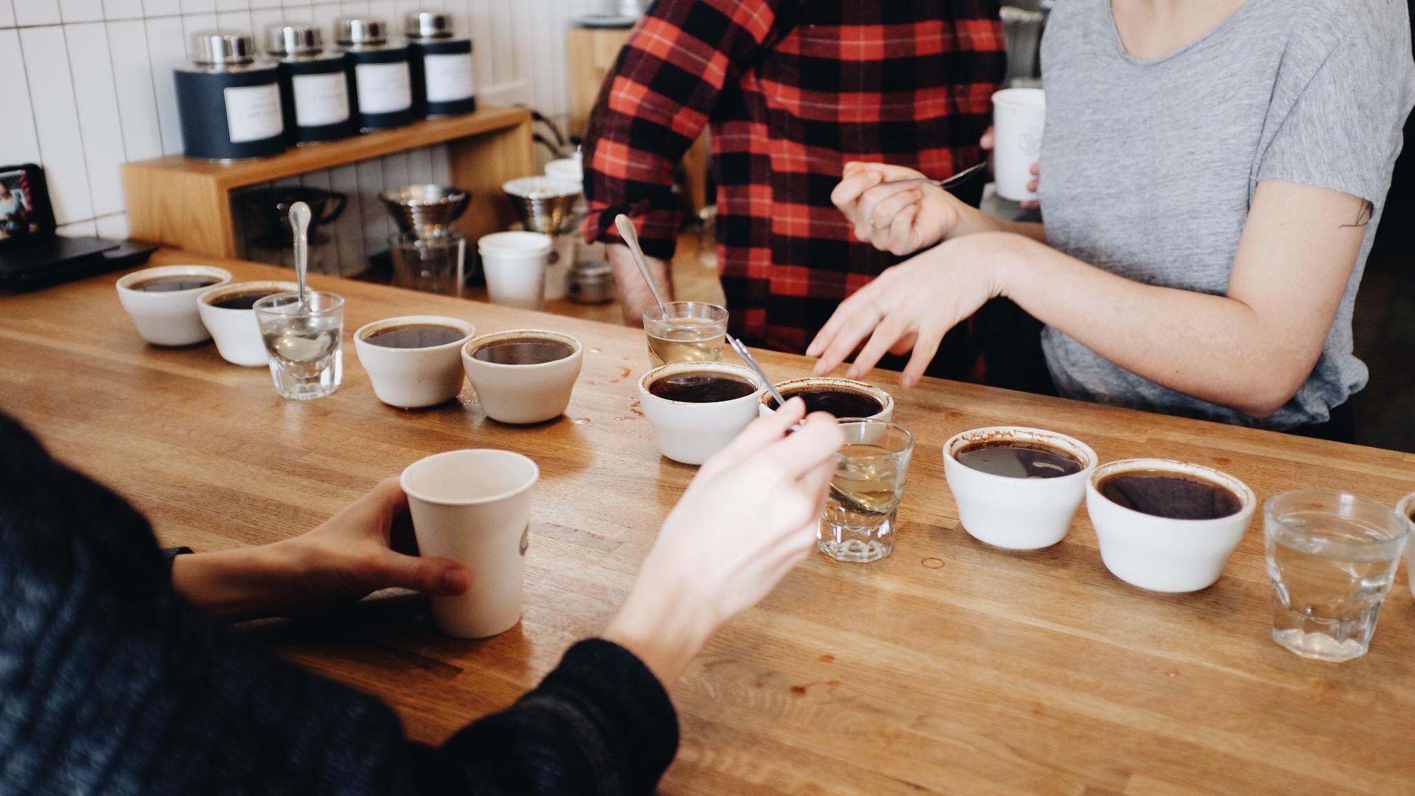 Coffee cupping @ Chrome Yellow. New single origin coffees from Stumptown Coffee.