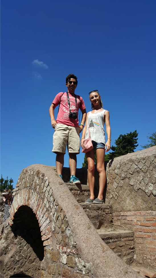 Sarah and Matteo atop the remains of an ancient staircase.