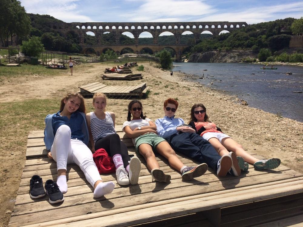 Taking a break from Caesar by the Pont du Gard.
