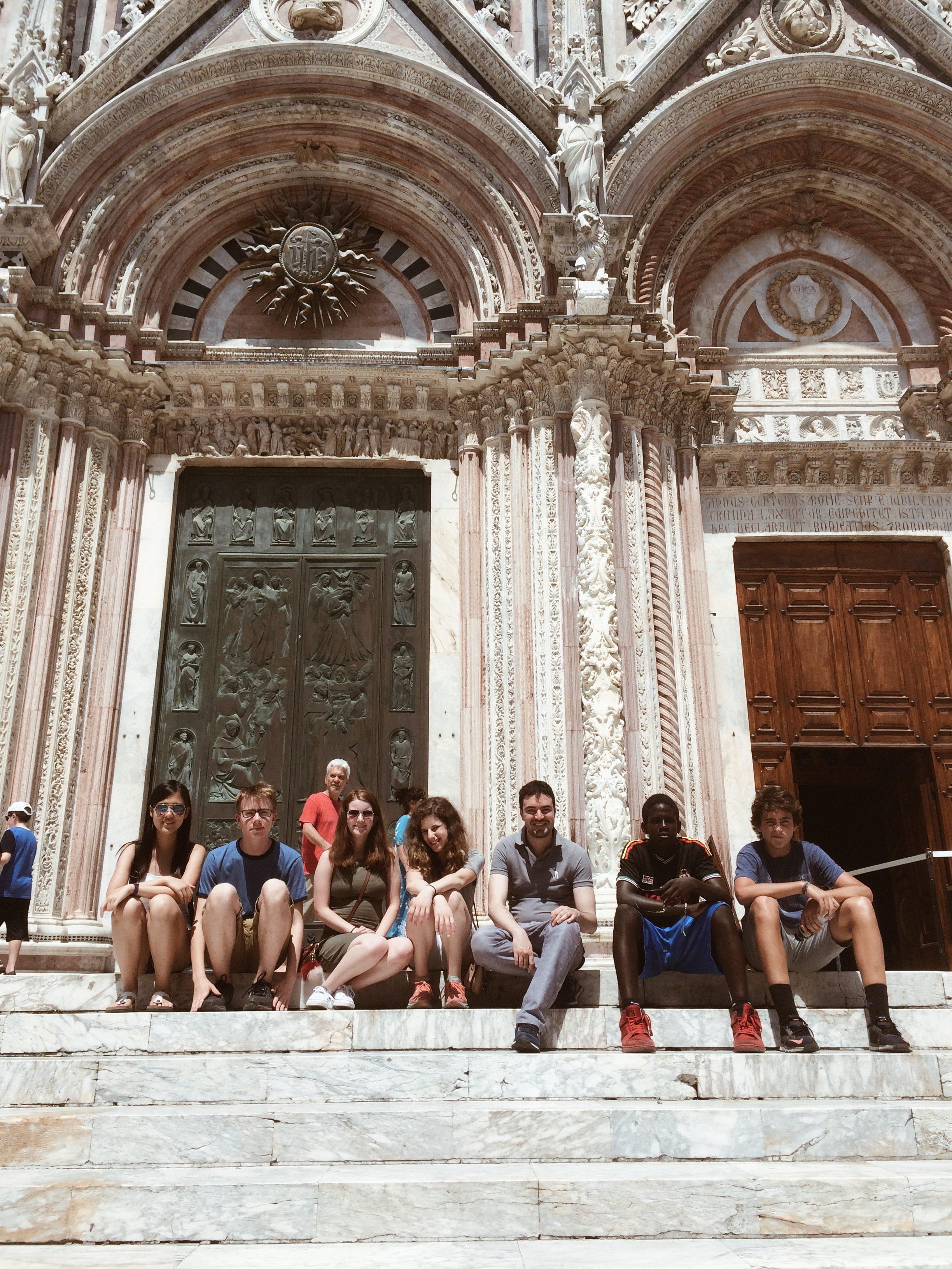 Our students and guide Leonardo at the Duomo di Siena!