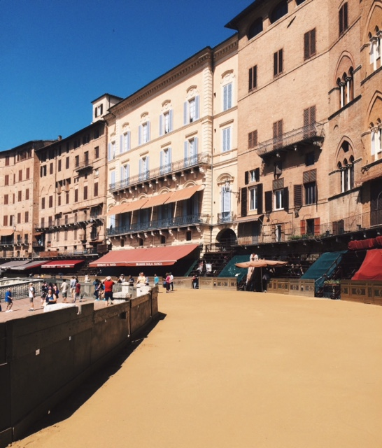 The main town square all set up for next week's Palio.