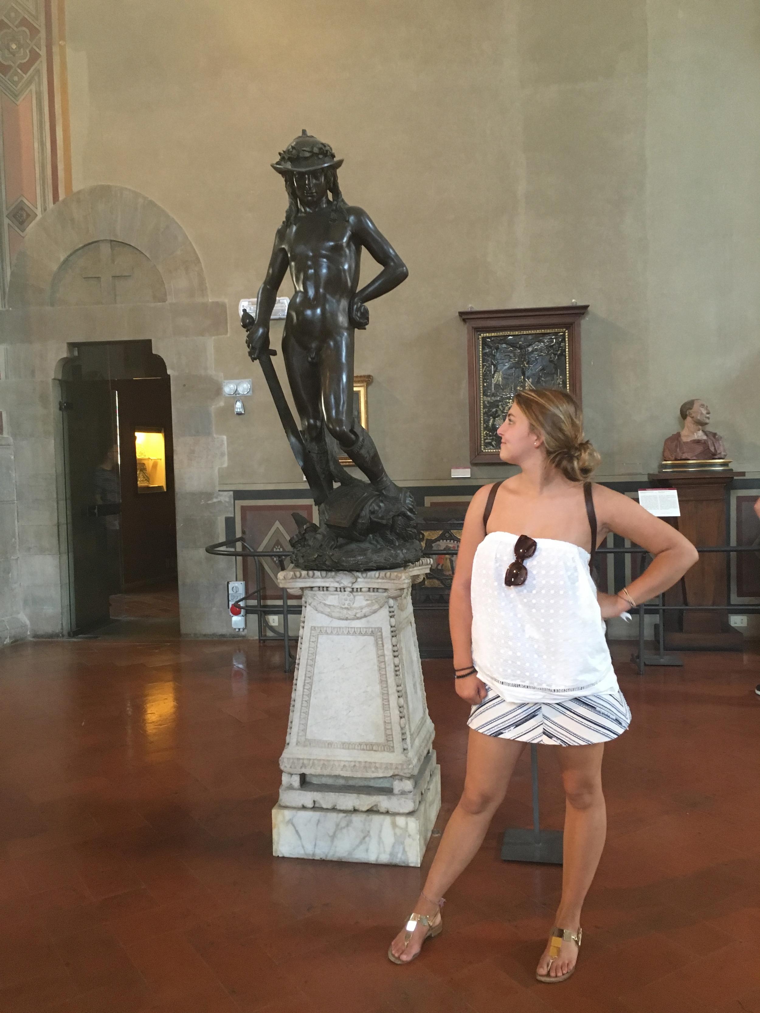 Emma poses with Donatello's David