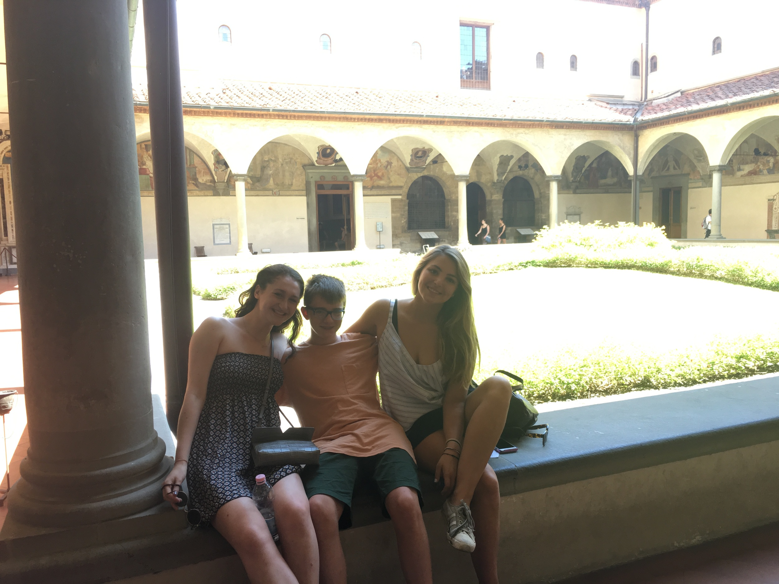 Margot, Henry and Emma in the cloister of San Marco