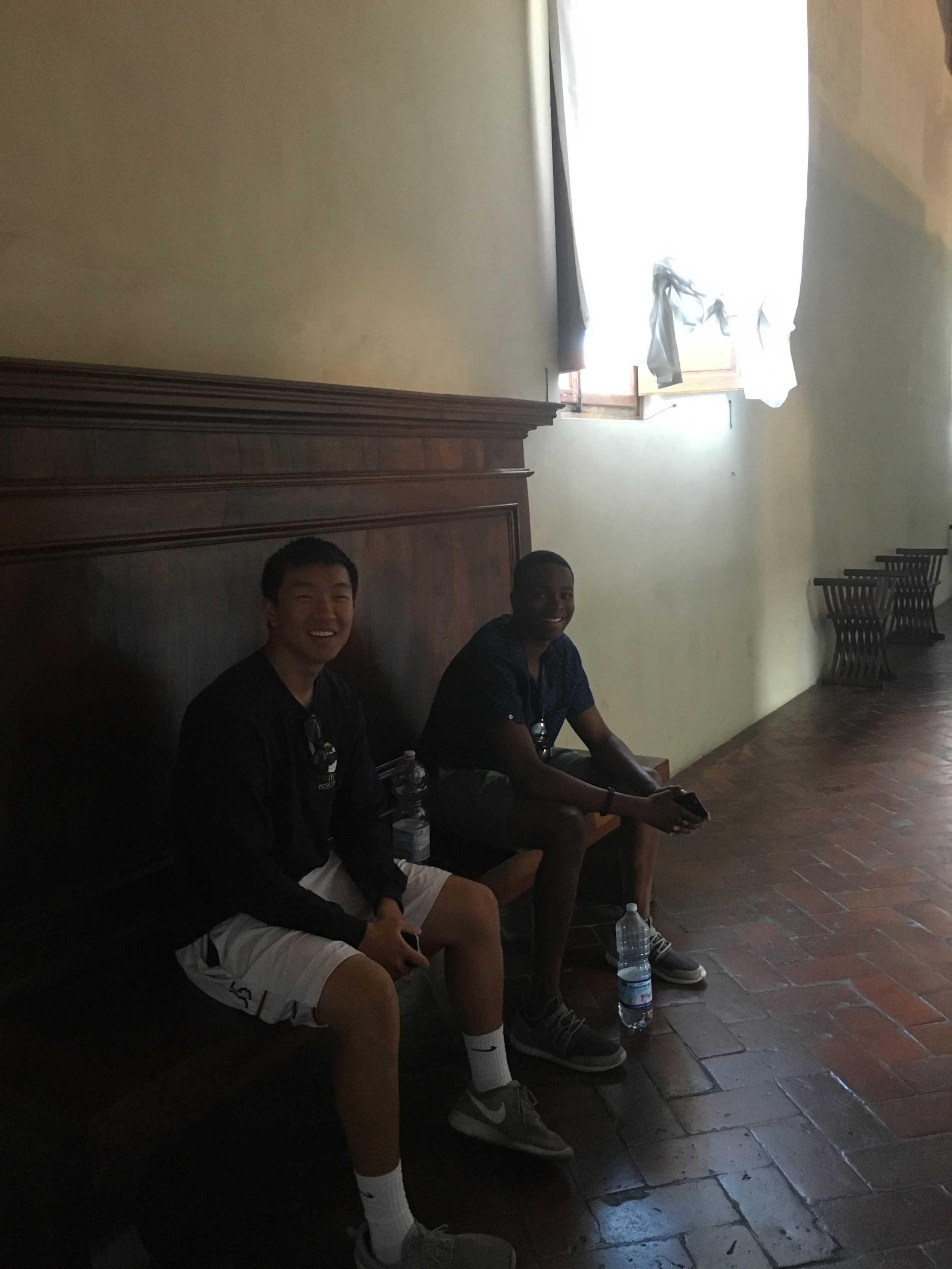 Michael and Isaiah outside the monks' cels at San Marco
