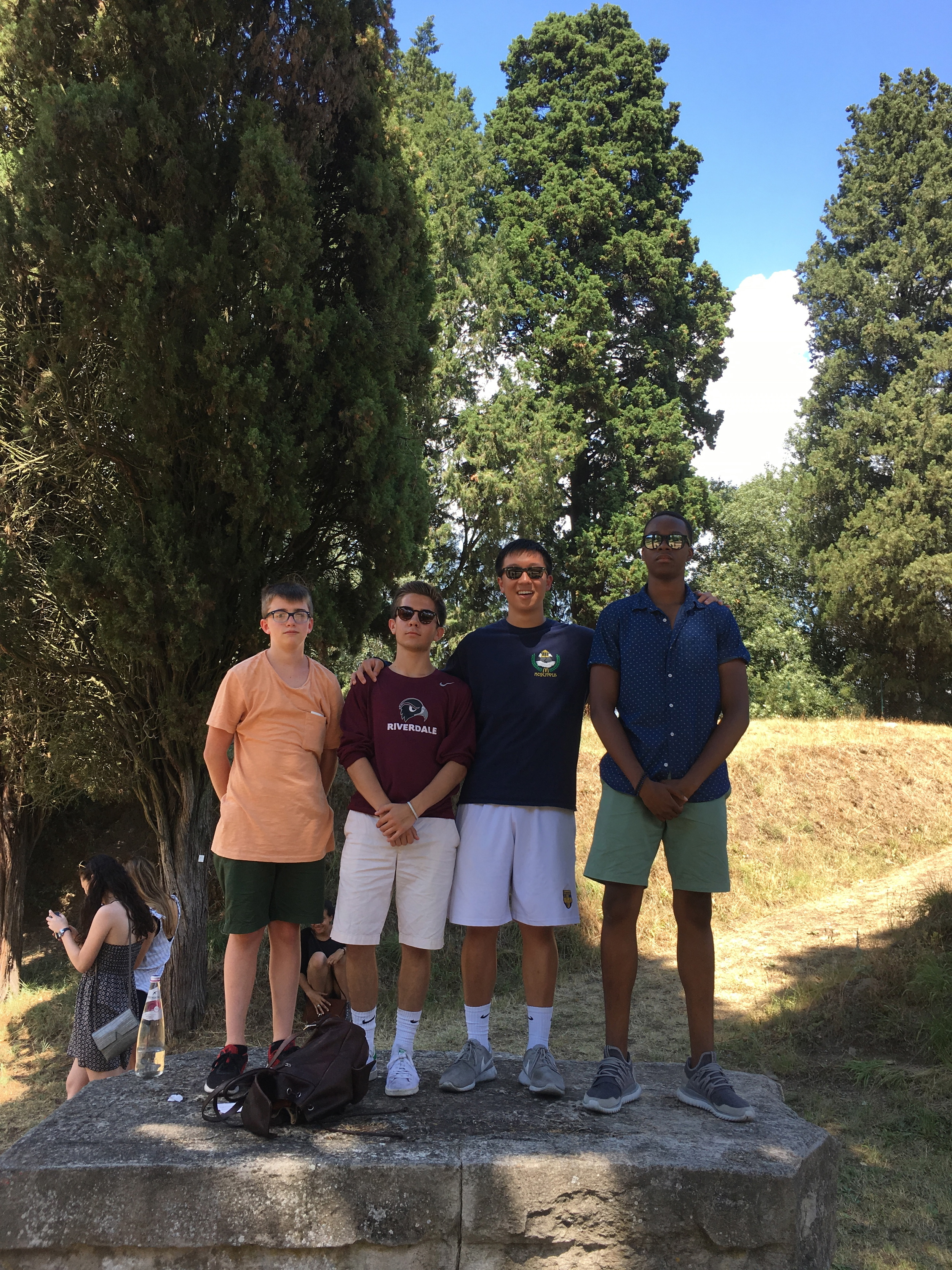 Henry, Christian, Michael and Isaiah on the altar of the temple at Fiesole
