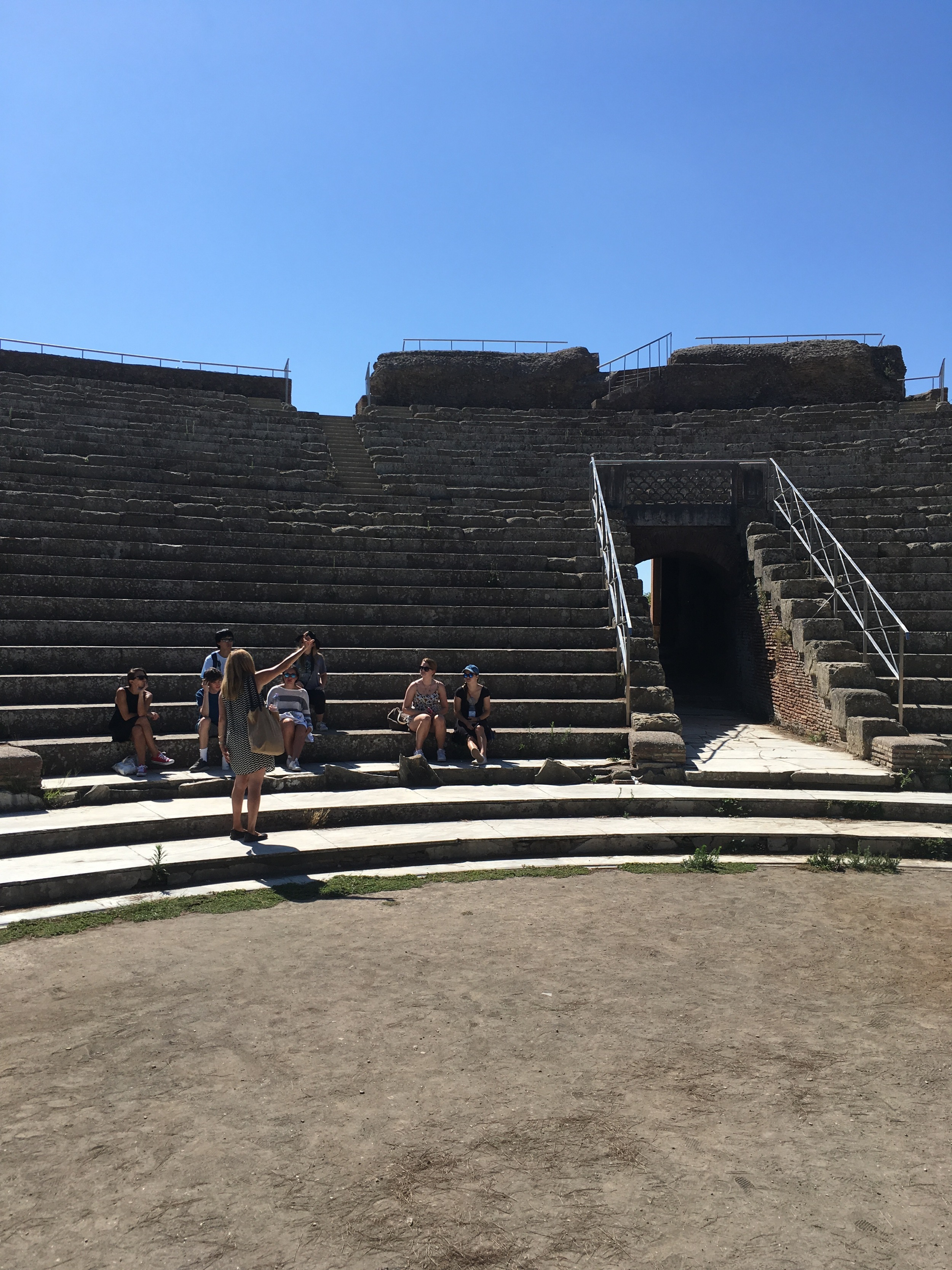 In Ostia Antica, the group gets a lesson from archeologist Crispin Corrado.