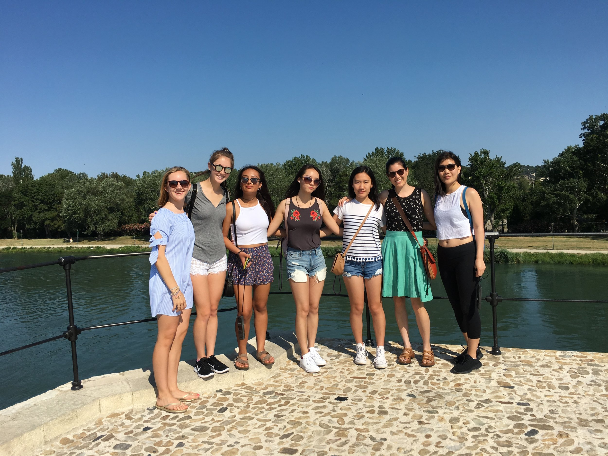 On the famous Pont d'Avignon, right after we sang and danced.