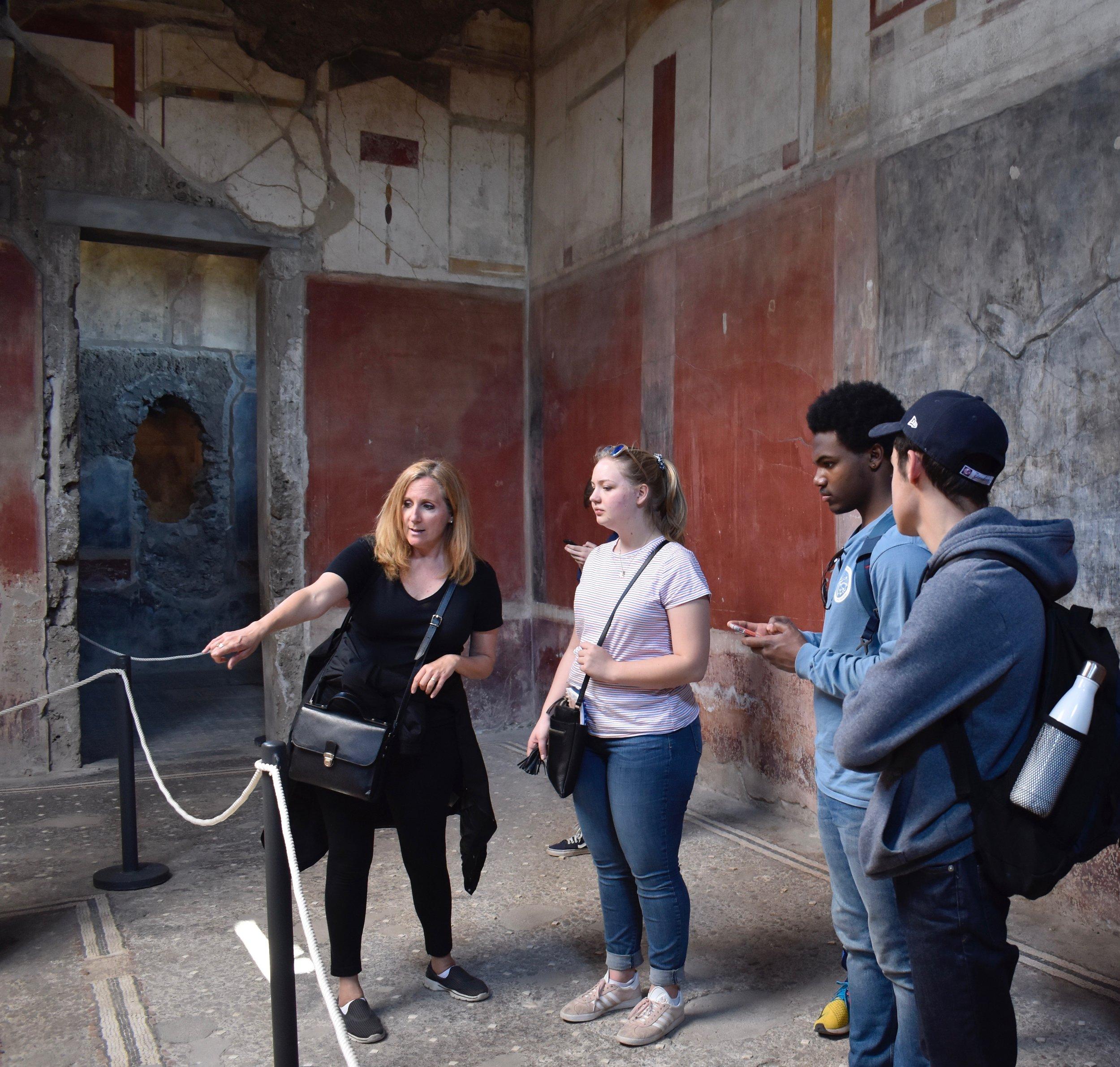 Calder Classics students visiting Pompeii during Spring Break 2019