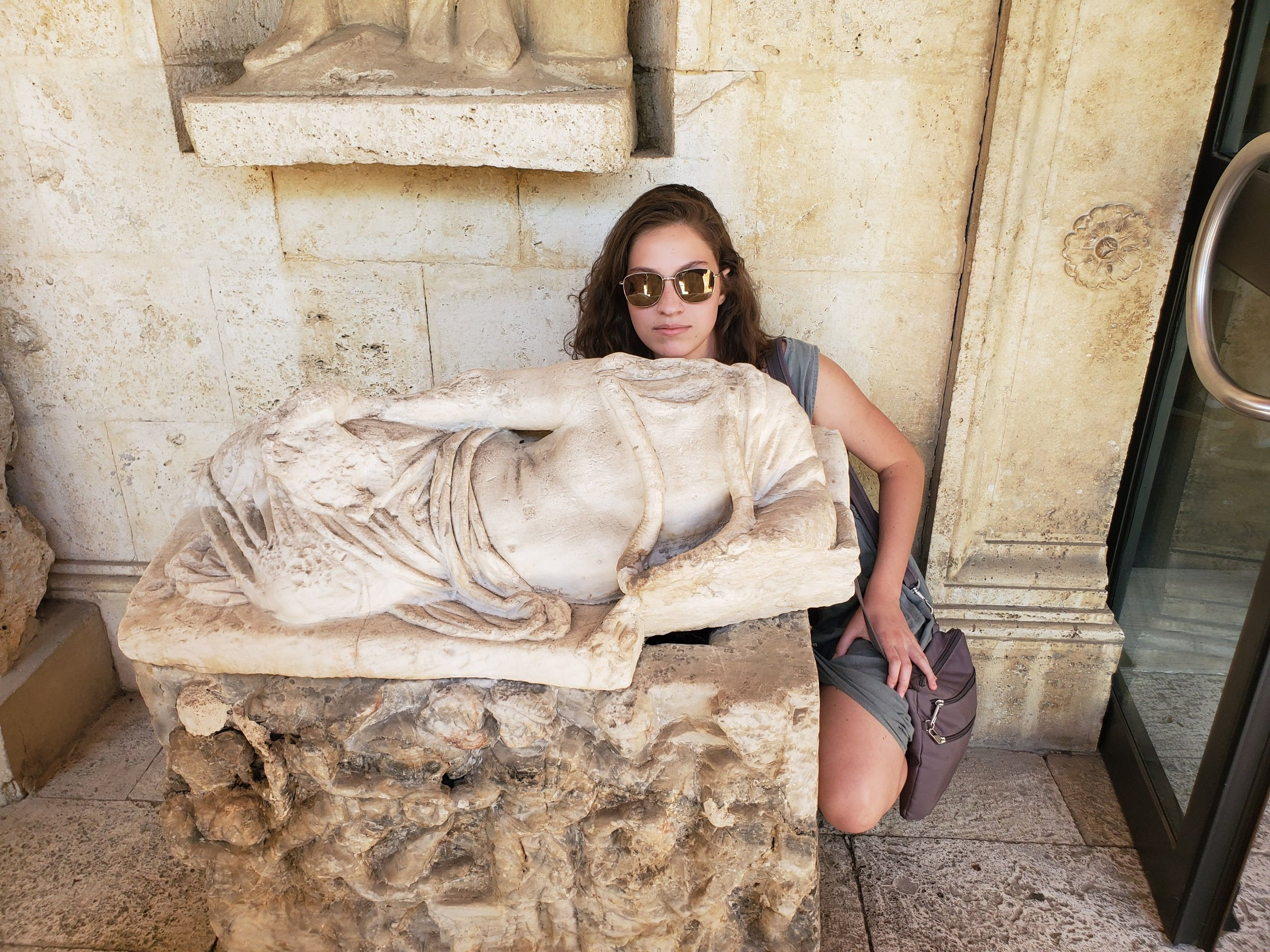 Maude with statue.jpg