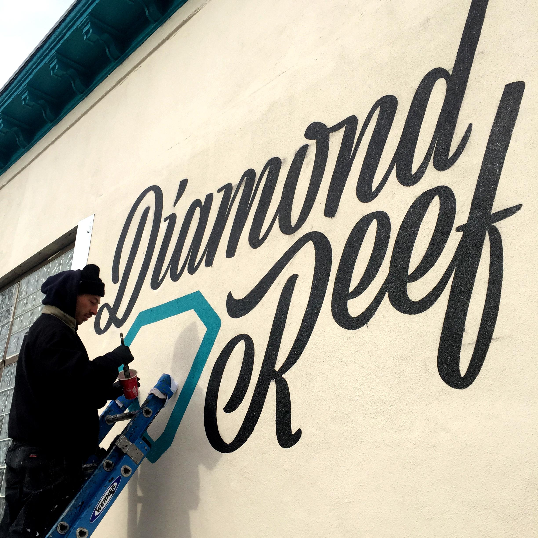 Diamond Reef   Large Format Painting, Handpainting, Neon