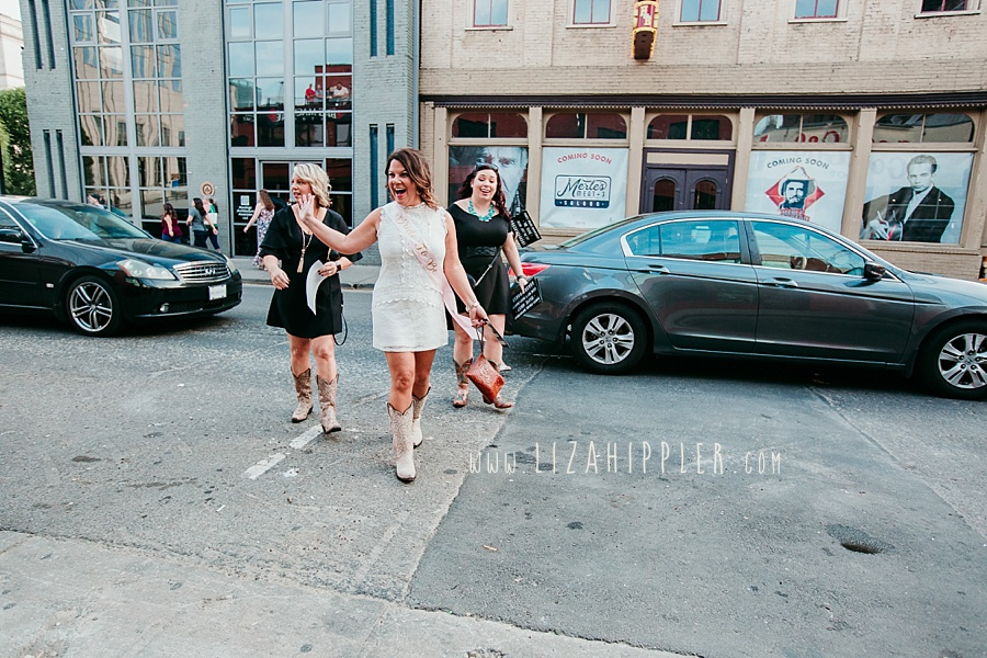 bachelorette party crossing the street in downtown Nashville