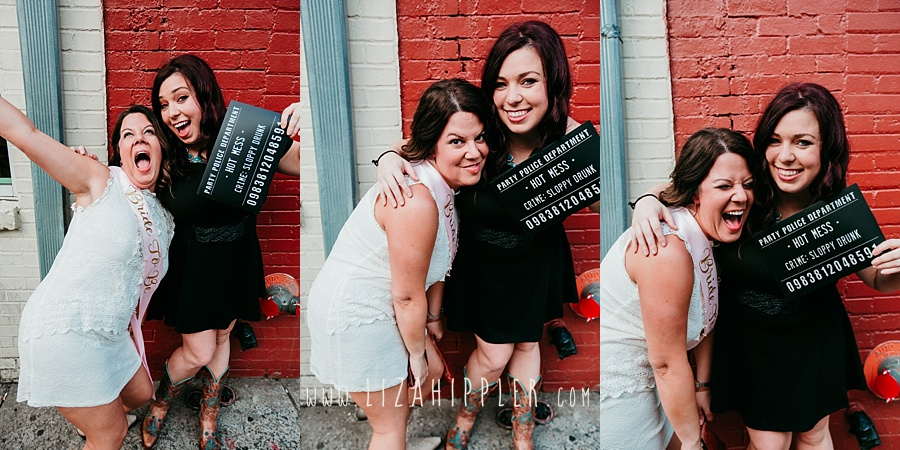 bachelorette and friend posing for funny crime photos in Nashville