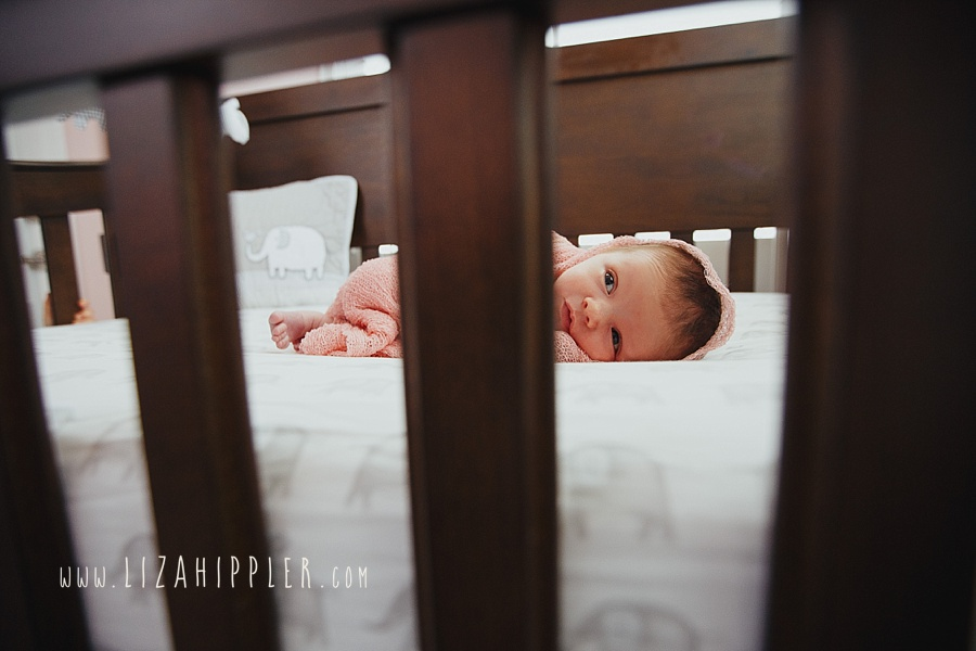 sweet baby girl newborn in pink