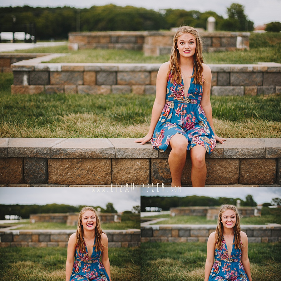 adorable high school senior girl makes cute faces