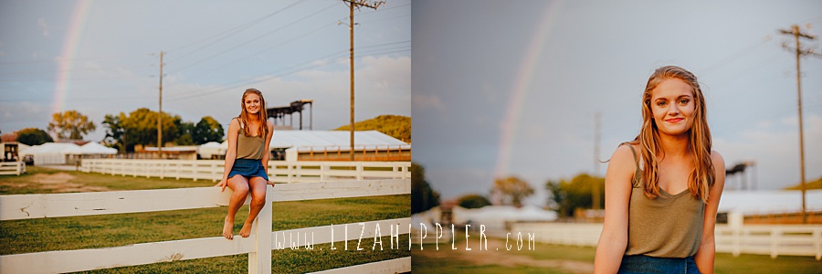 rainbow shows up for blonde high school senior photo shoot in franklin tn