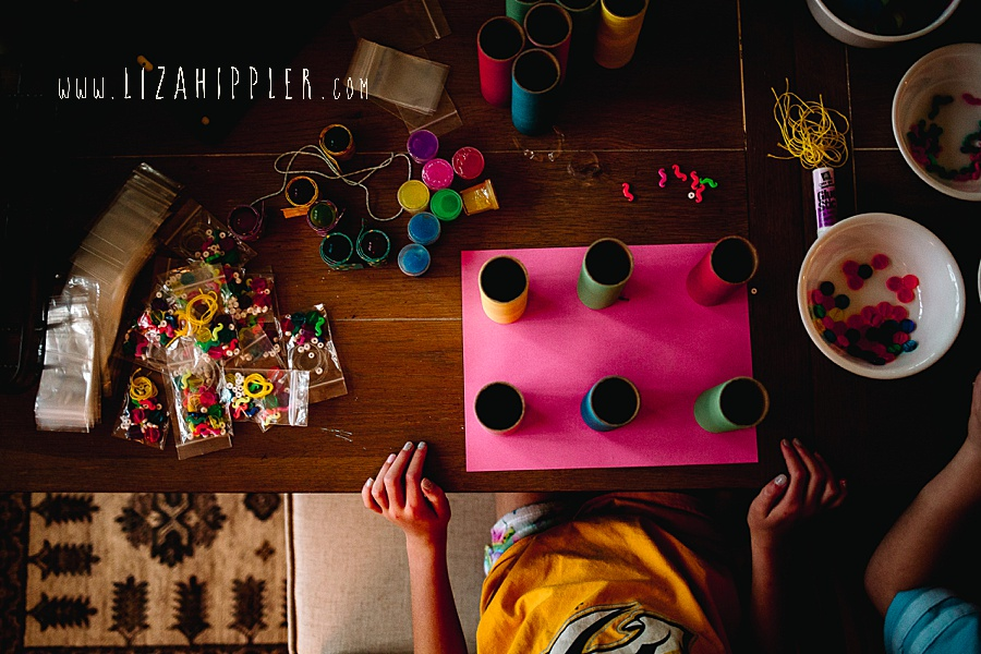 colorful crafts on dark table