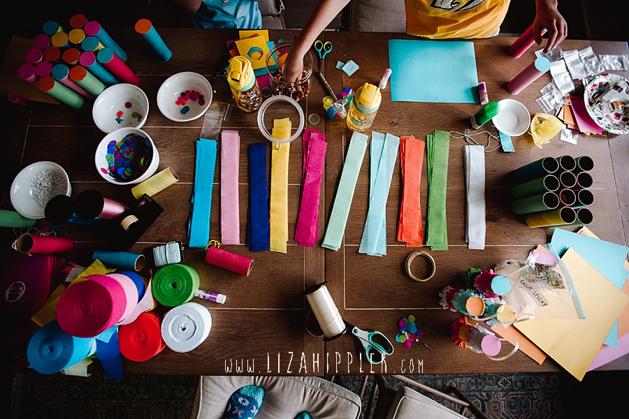 overhead shot of colorful crafts