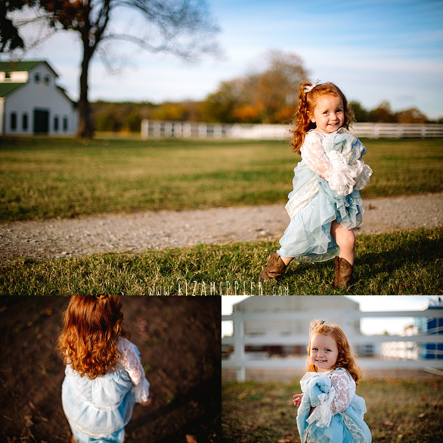 little girl in blue dress runs around