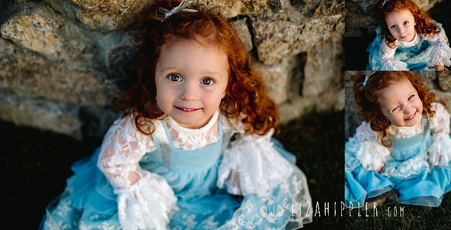 collage of redhead toddler in fancy blue dress
