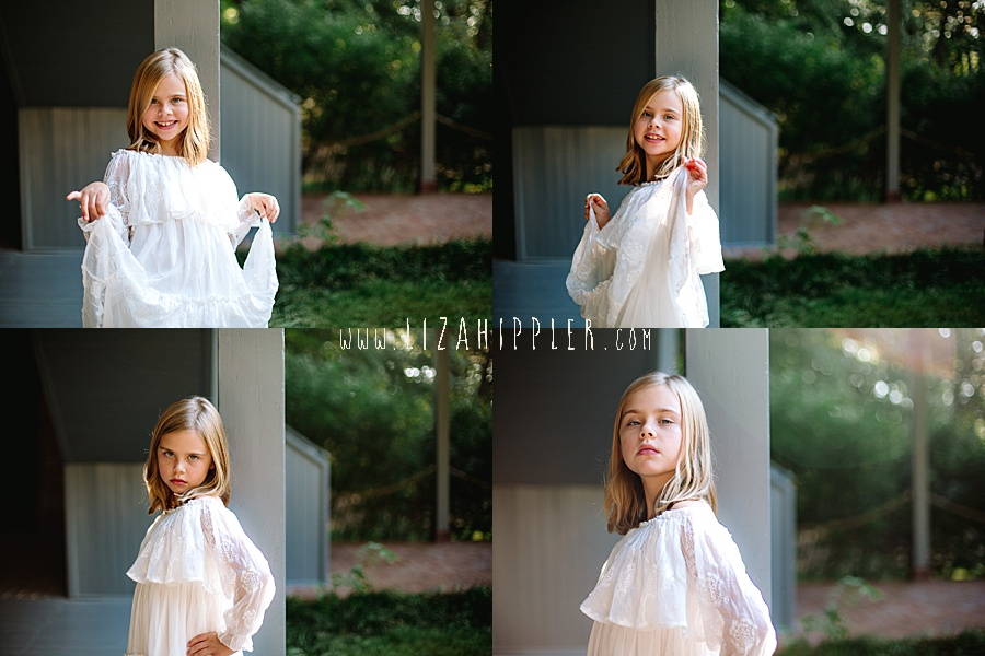 four photos of blonde girl in white dress