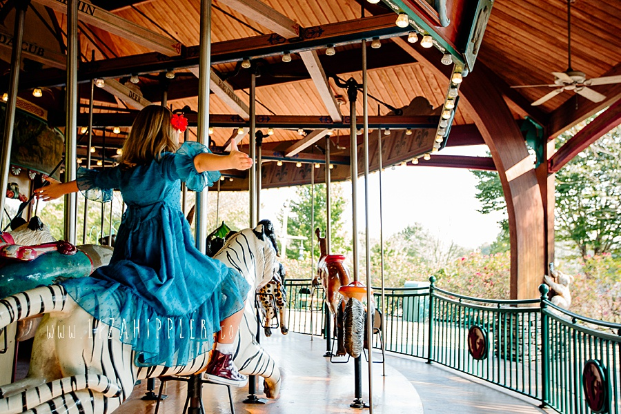 young girl rides nashville zoo carousel