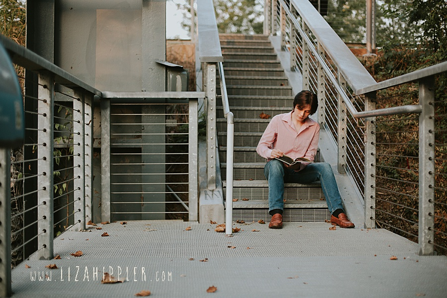 senior shoot of boy in cumberland park nashville tn