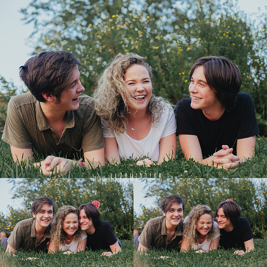 high school senior triplets lie on the grass and laugh nashville tn