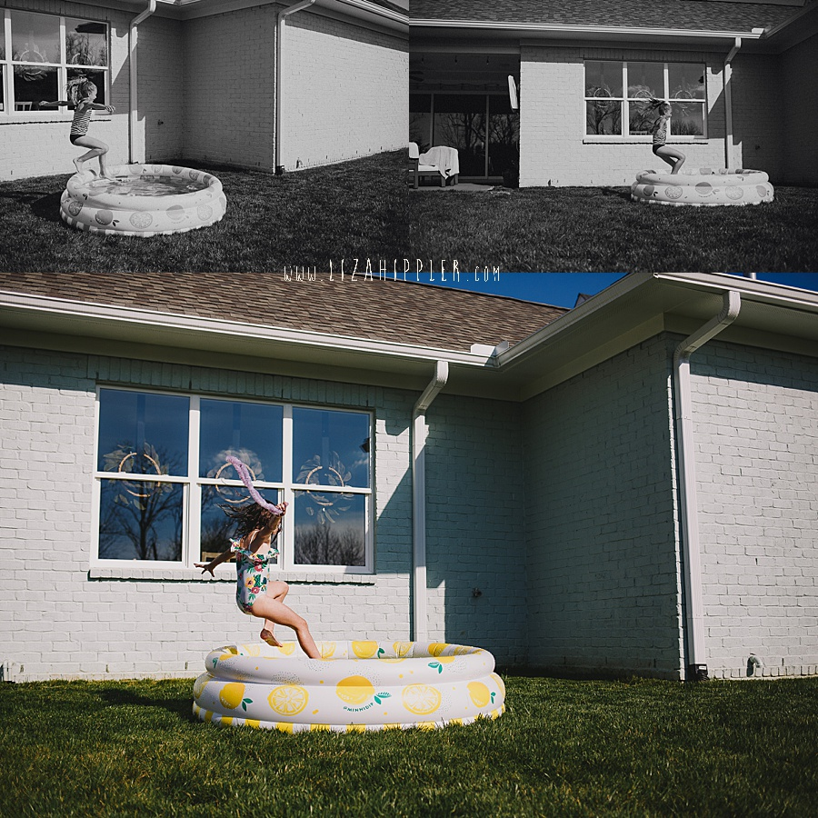 sisters jumping in small backyard pool