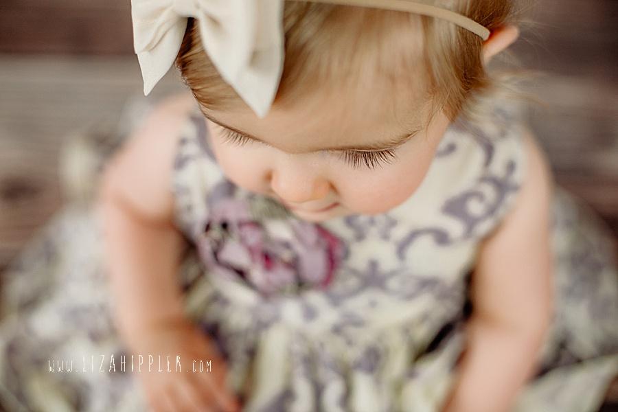 closeup of eyelashes on baby girl