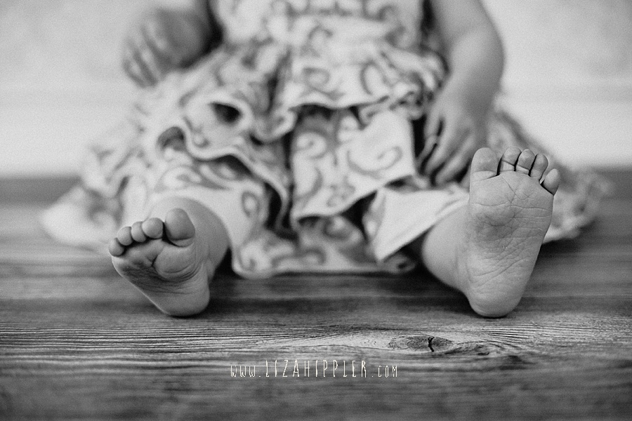close up of one year old feet