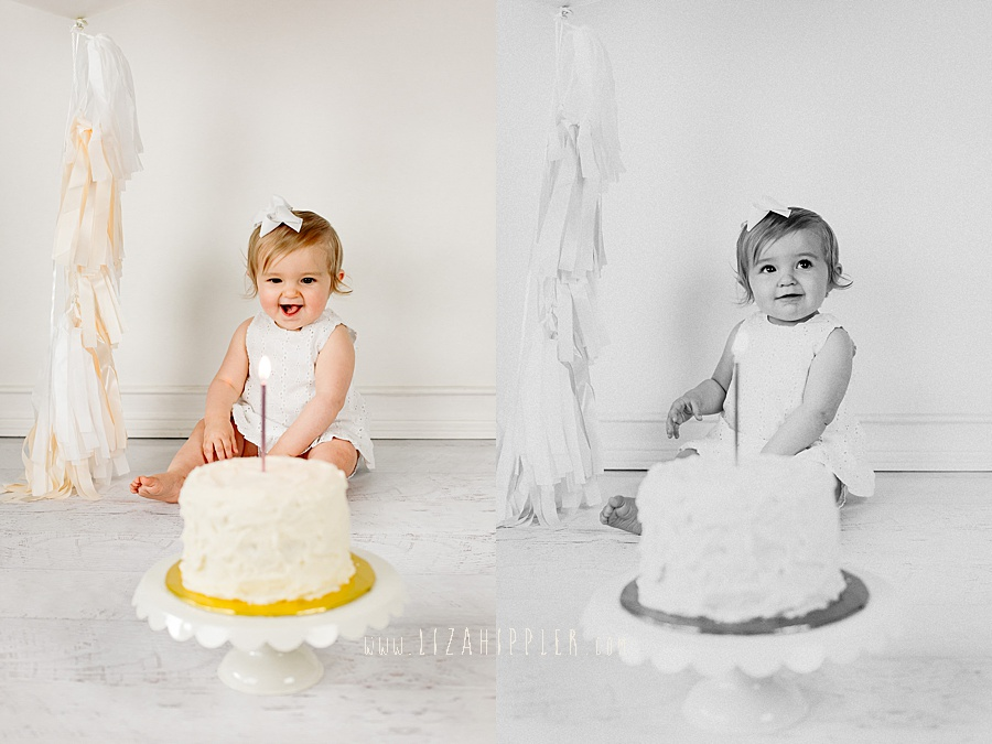first birthday girl ready to eat her cake