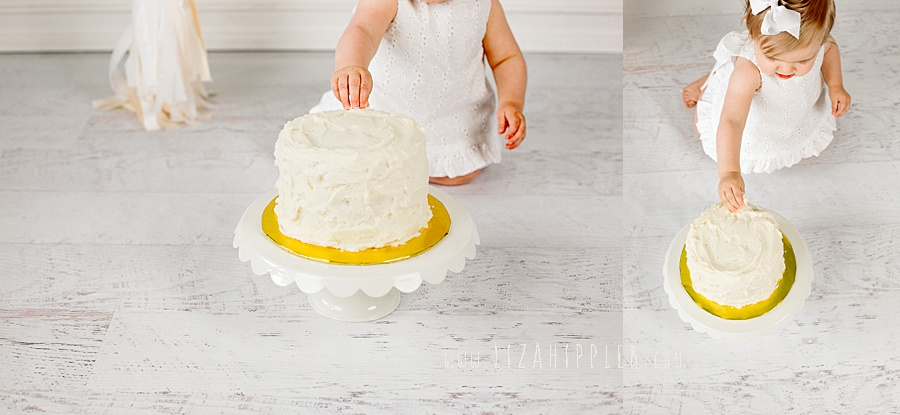 smash cake in vanilla and white