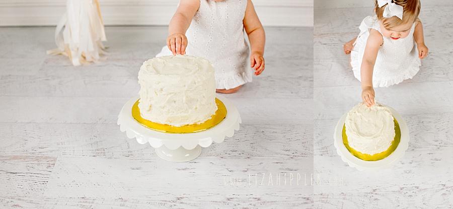smash cake in vanilla and white