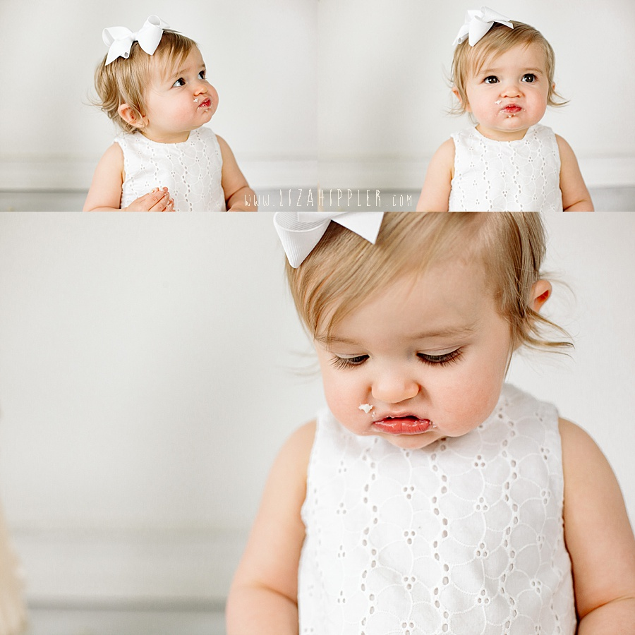three photos of girl on her first birthday trying cake