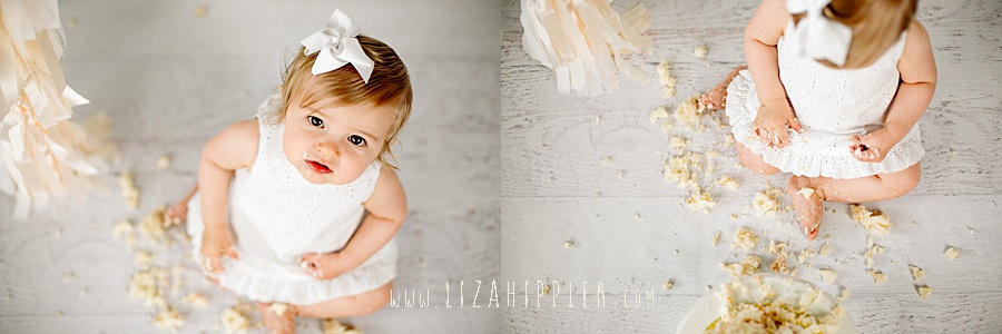 first birthday smash cake girl white dress