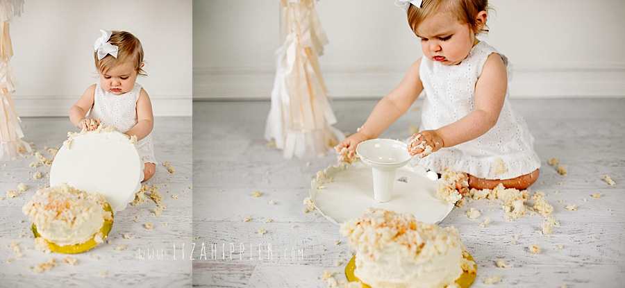 cake smash session gets funny when girl topples cake