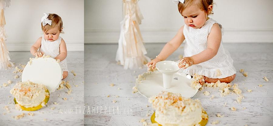 cake smash session gets funny when girl topples cake