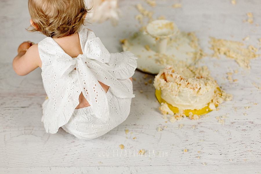 back of eyelet dress on one year old girl at her cake smash session