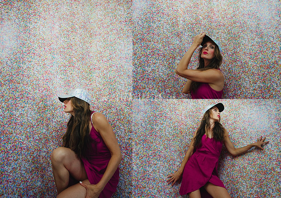 collage of self portraits in pink dress on colorful paper