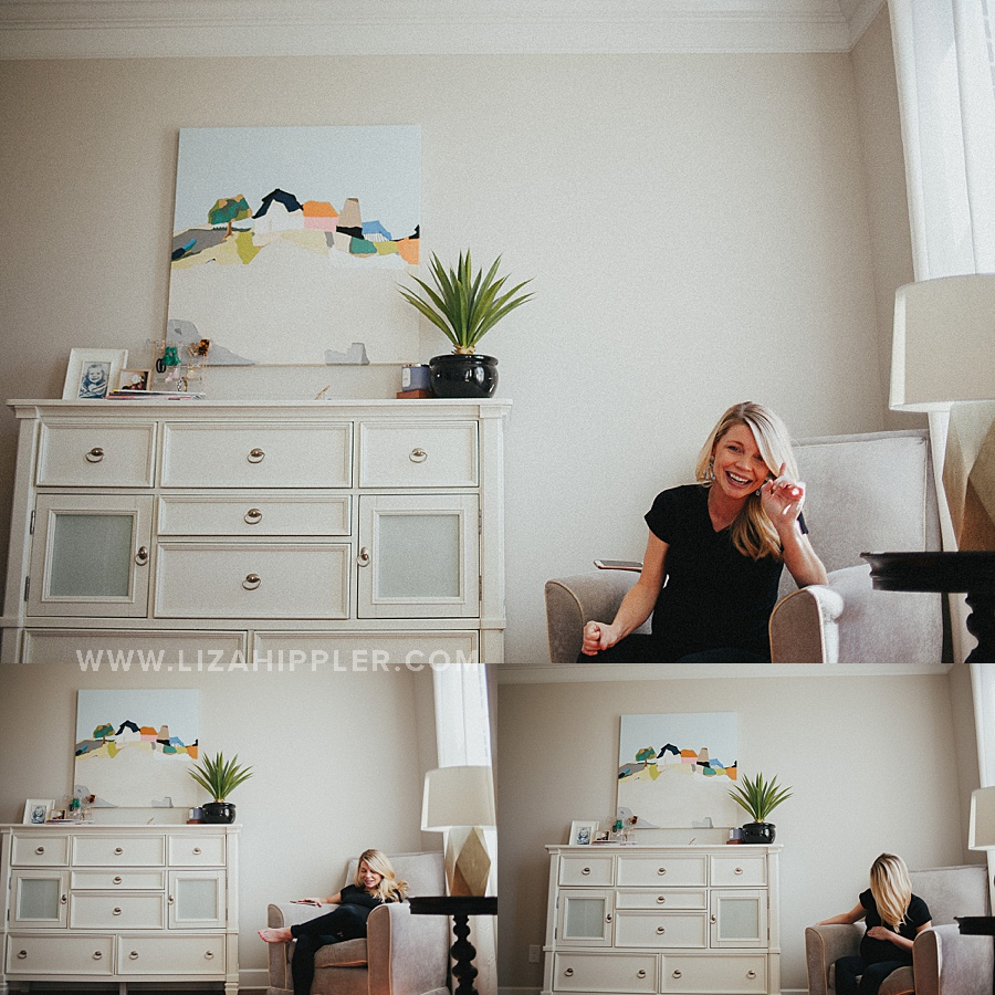 series of photos of pregnant mom wearing black in her bedroom