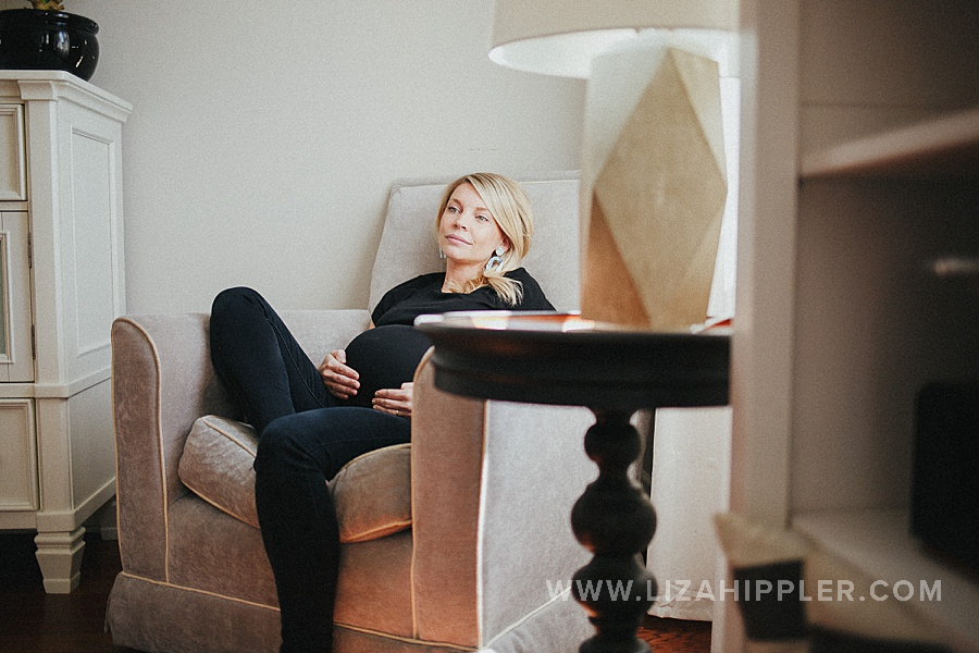 pregnant woman relaxing in chair
